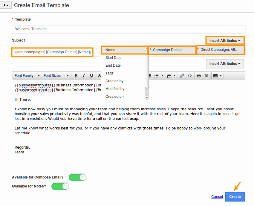 How do i create email templates in direct campaigns app for Making an email template