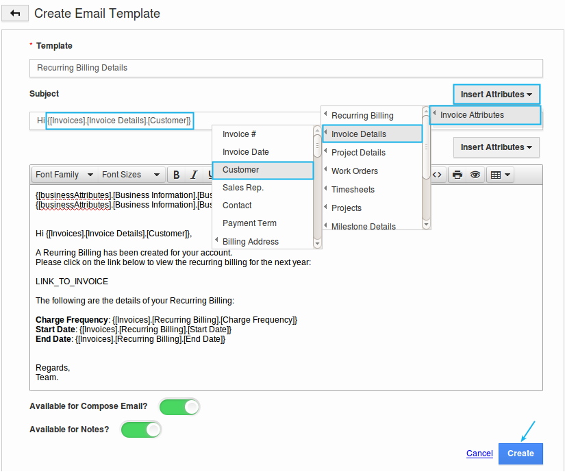 How Do I Setup Custom Email Templates For My Invoices Apptivo Faq