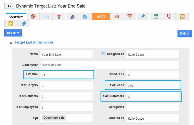dynamic target list created