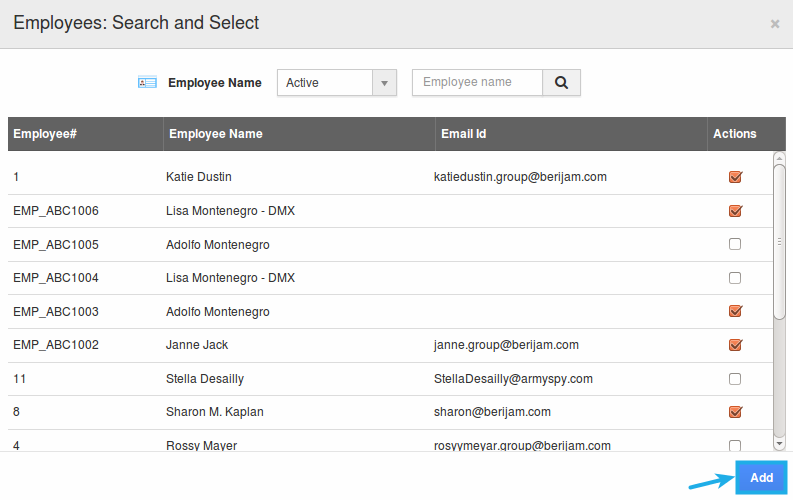 search and select employees