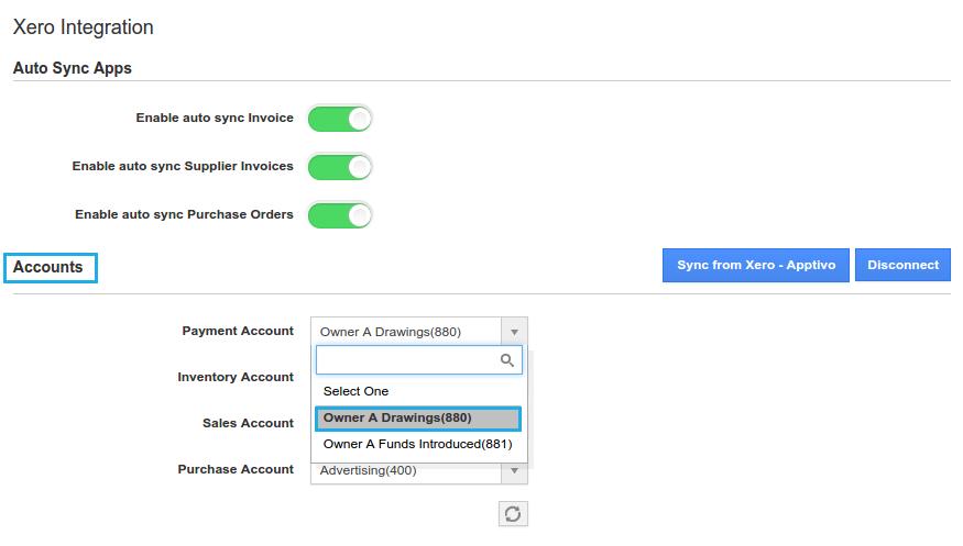 choose accounts form drop down