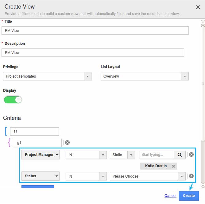 create custom view project