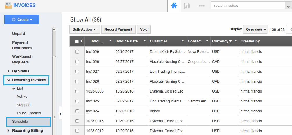 recurring invoice schedule