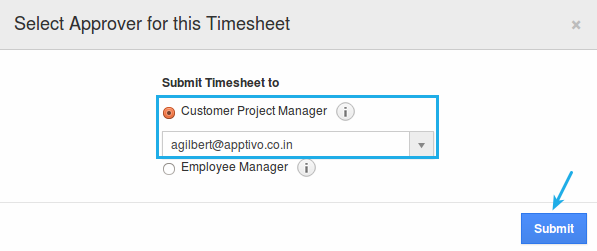 select approver for timesheet