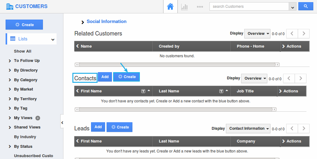 create customer contact