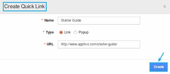 create quick link popup
