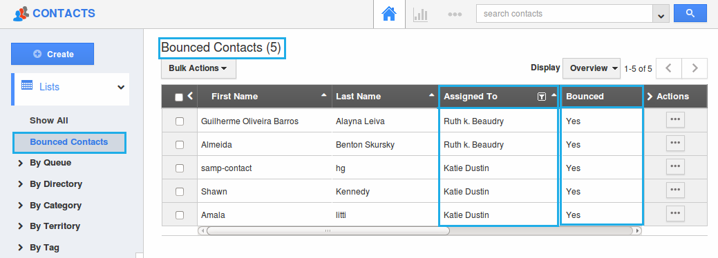 view created in contacts