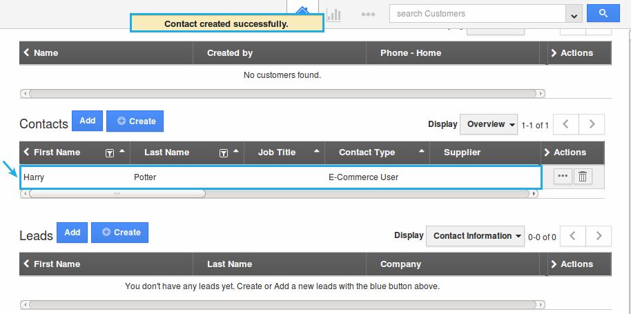 customer contact created