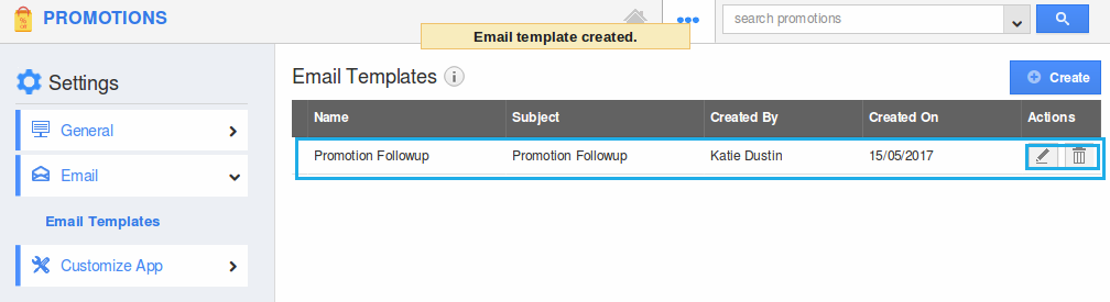 email template created