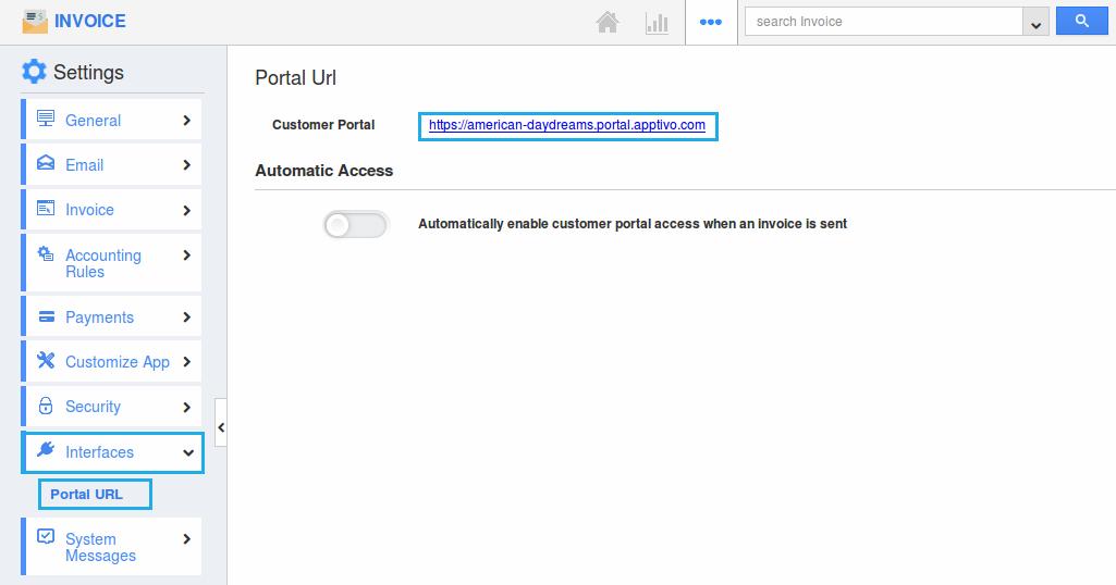 invoices portal url