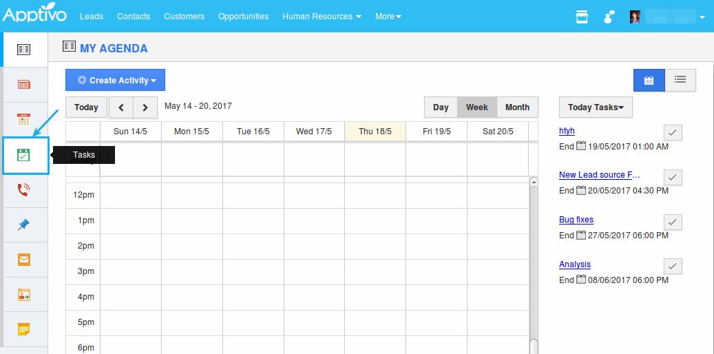 click on tasks tab