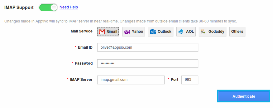 Setup Steps: IMAP Integration - Apptivo