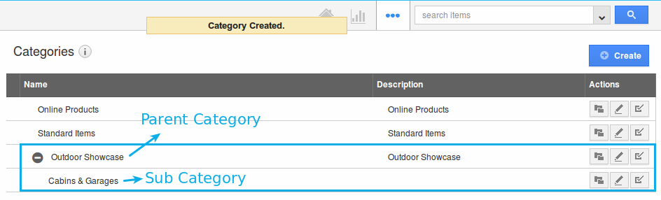 sub category created