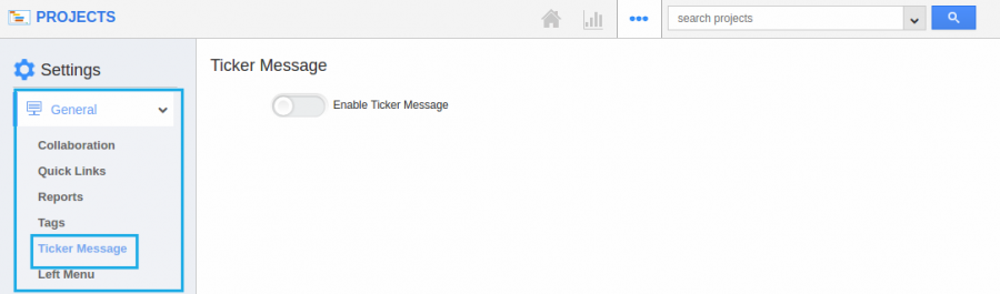 settings tickermessage