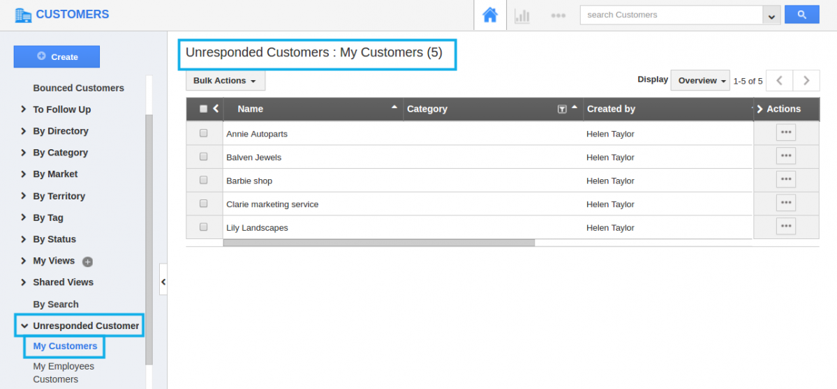 view unresponded customers