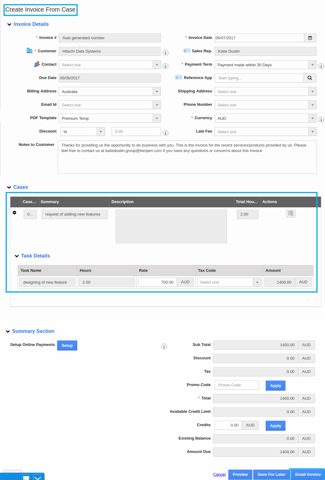 generate invoice from case and email title=