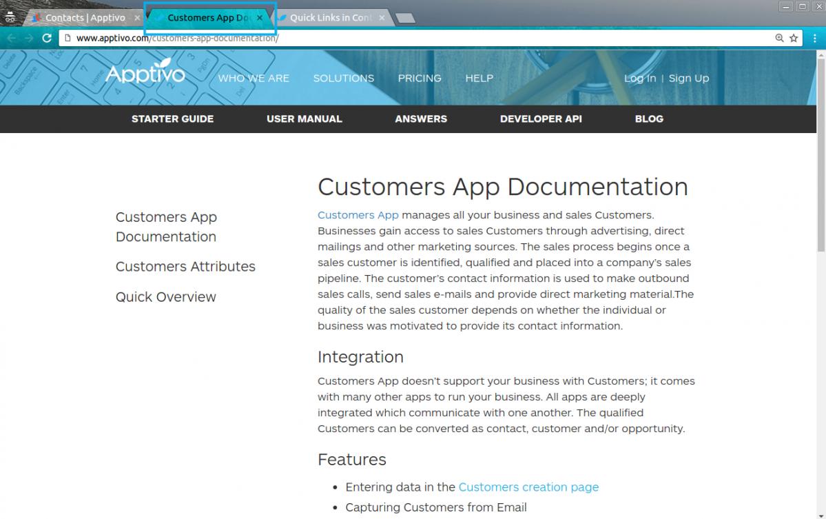 customers app new tab