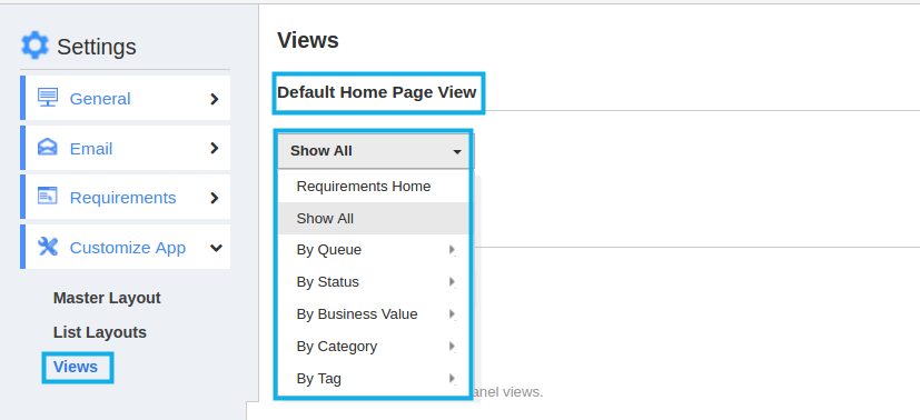 default home page view