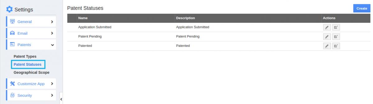 patent statuses