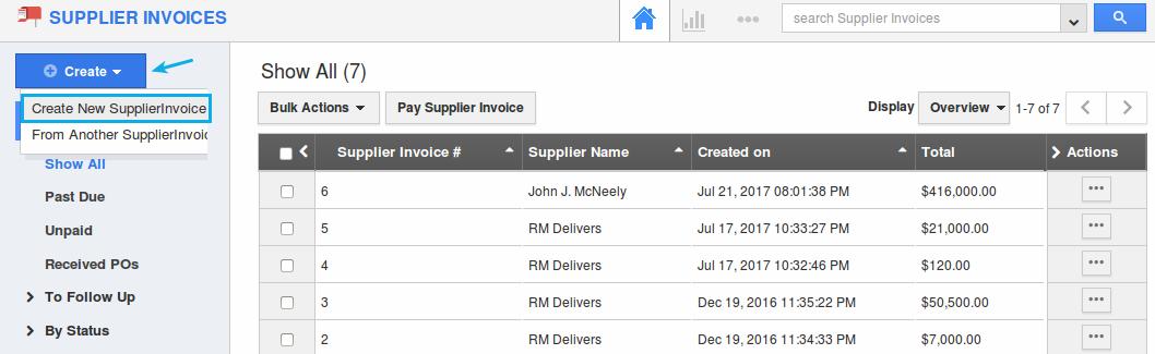 create new supplier invoice
