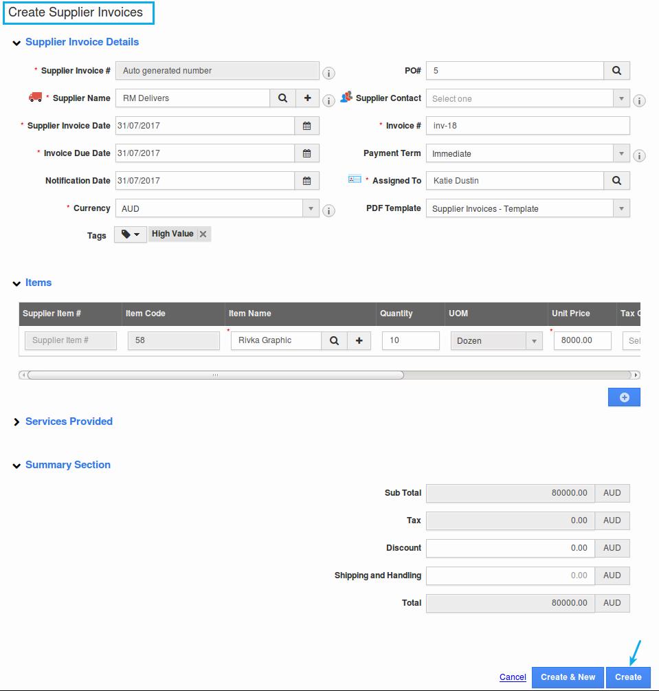 create supplier invoice