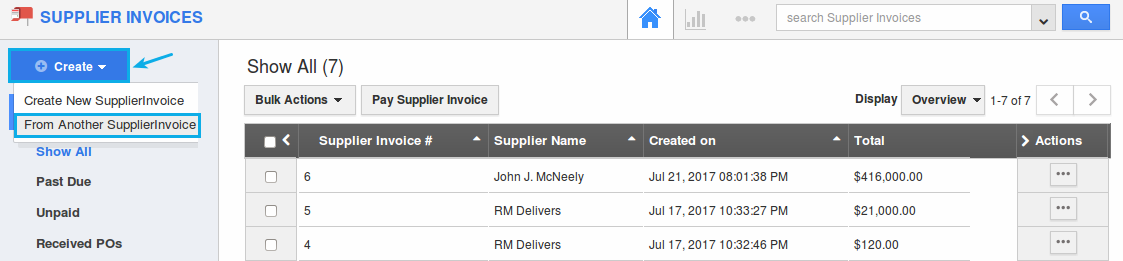 from another supplier invoice