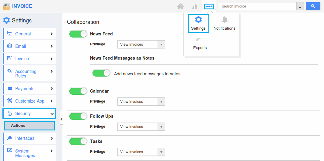 invoice actions