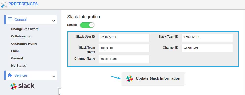 slack configured