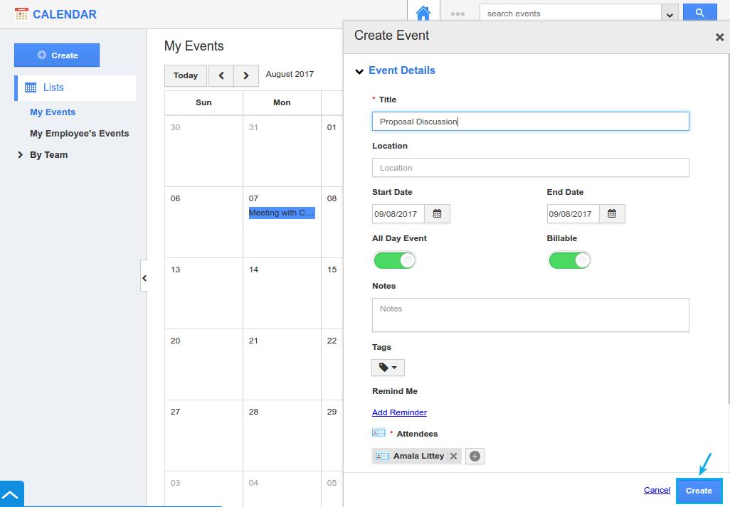 create event in apptivo