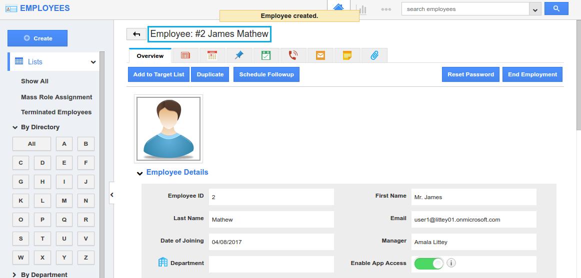 employee created