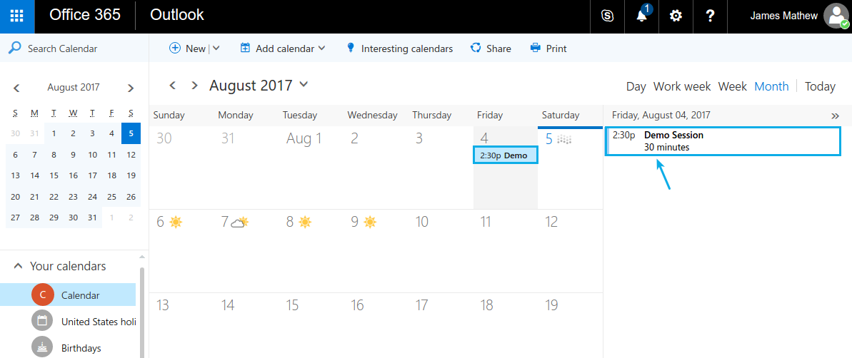 event synced in office 365