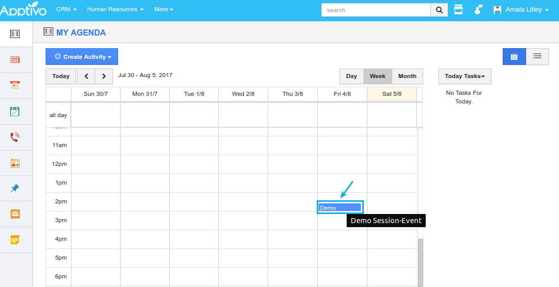 event synced in admin apptivo account