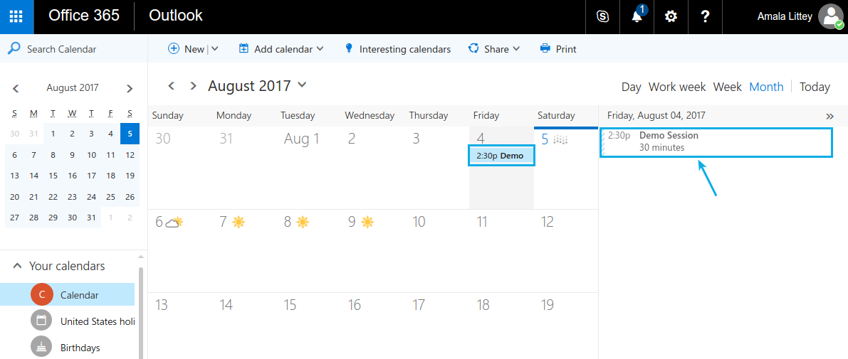 event synced in admin office 365
