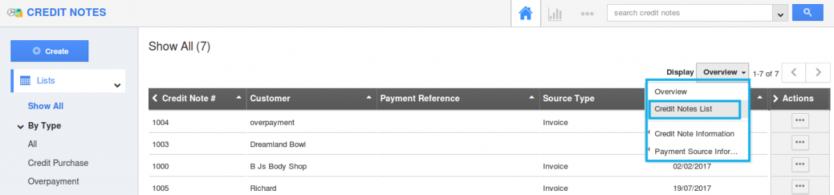 view credit notes with preferred columns