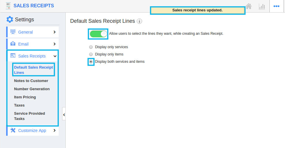default sales receipt line