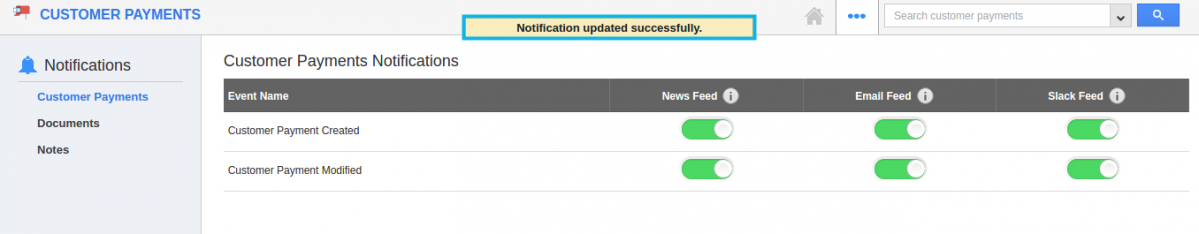 notifications updated