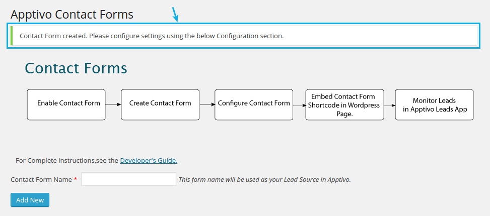 contact form created