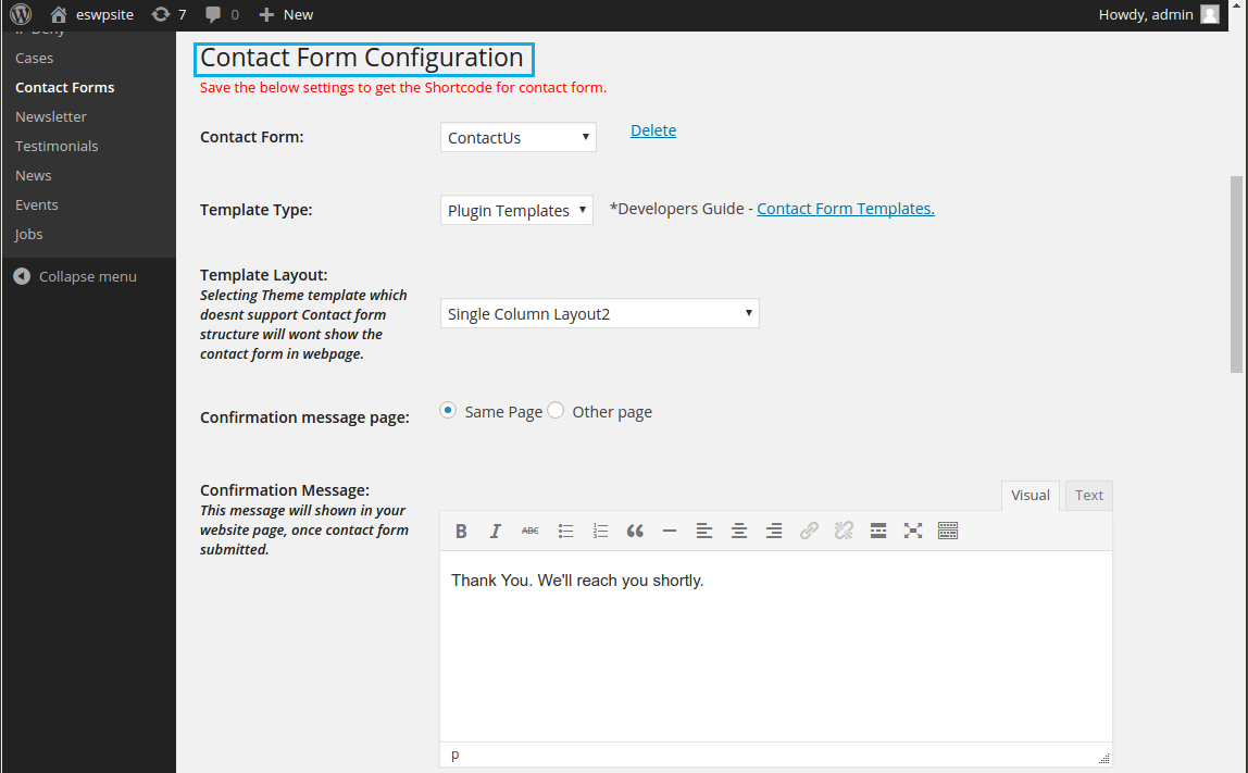 contact form config1