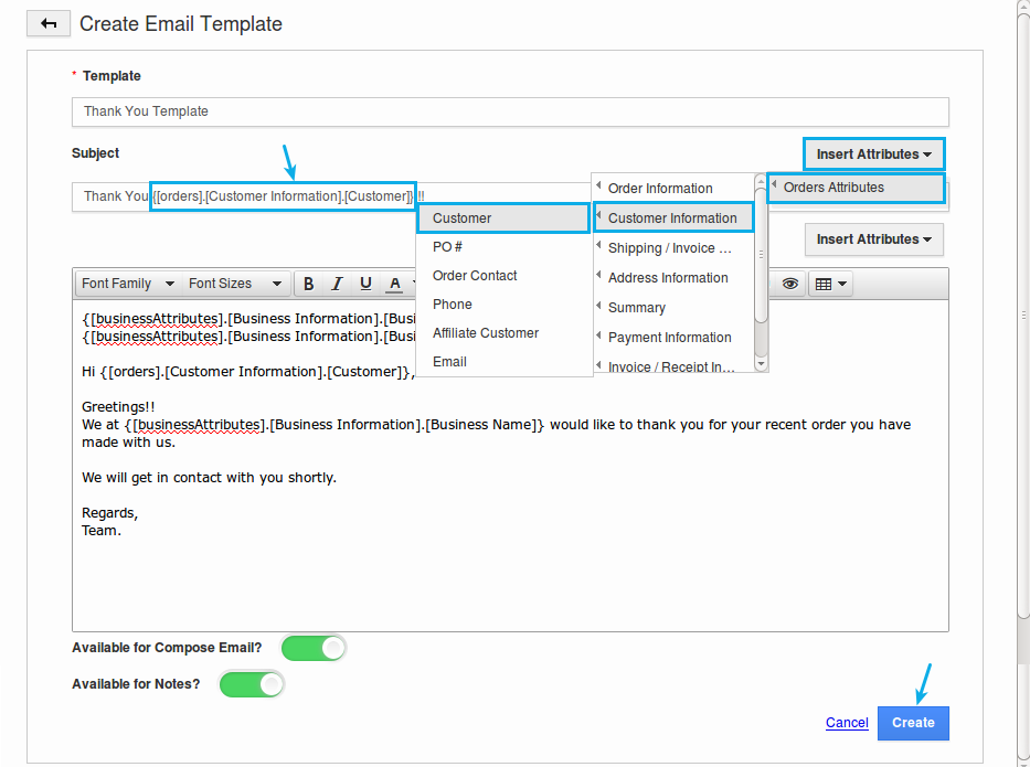 email templates orders