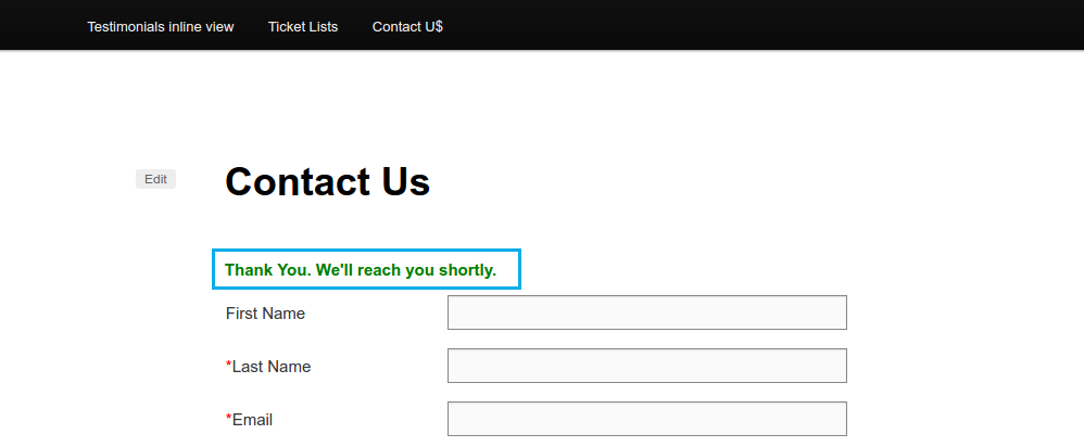 contact form submittes