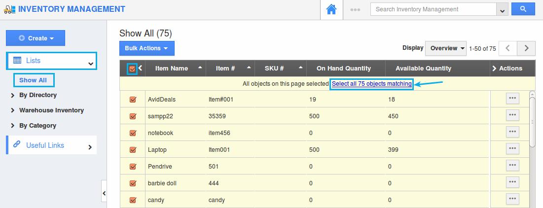 bulk select inventory