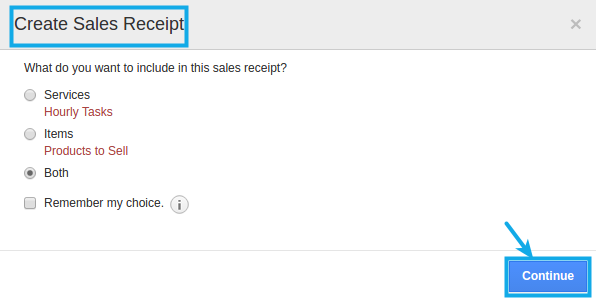 create sales receipt