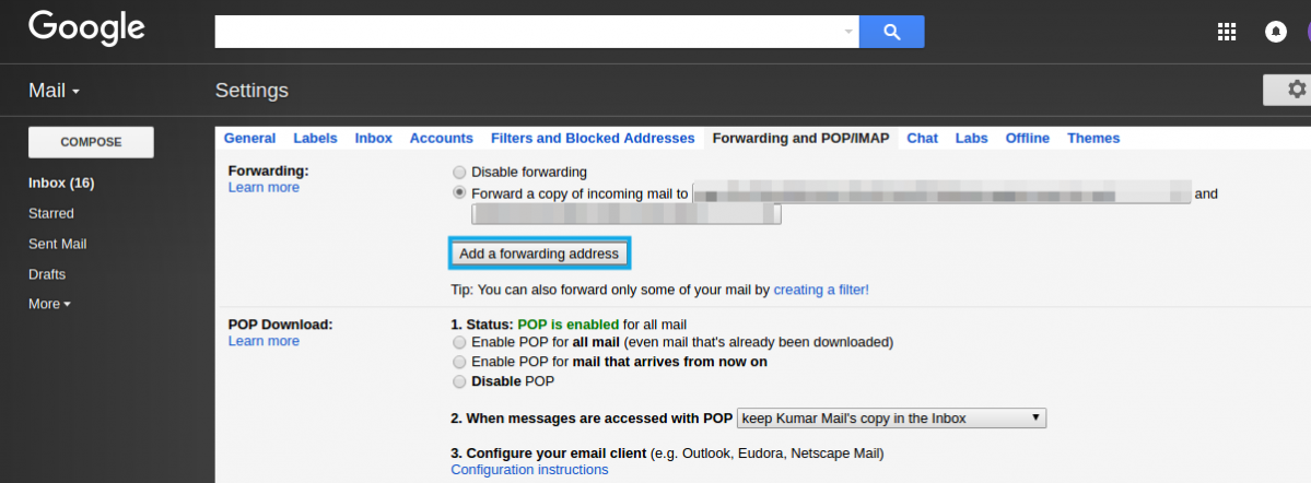 forwarding and pop/imap
