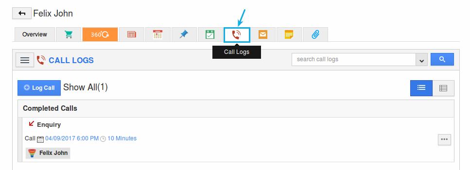 call log created