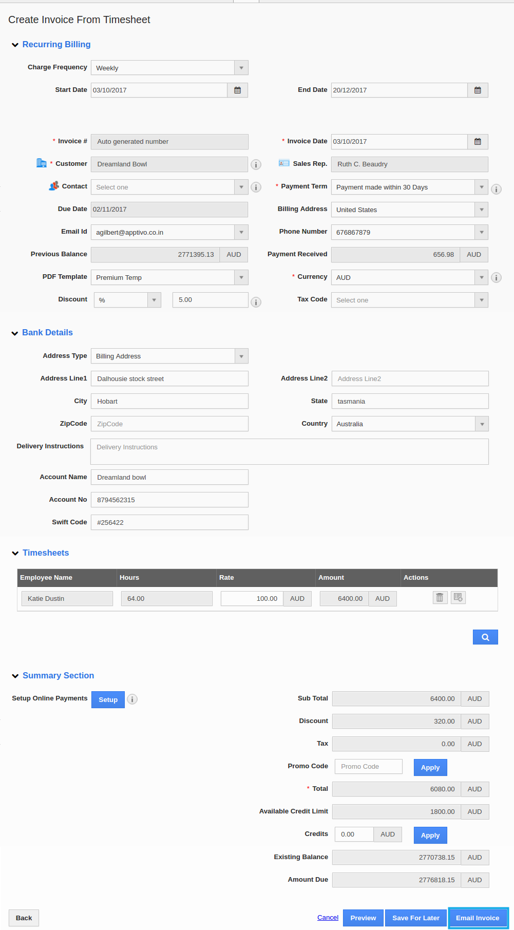 create invoice from timesheet