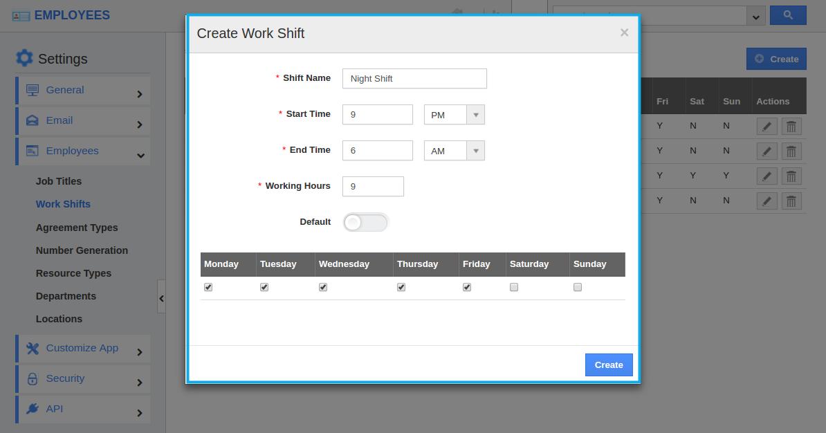 create work shift