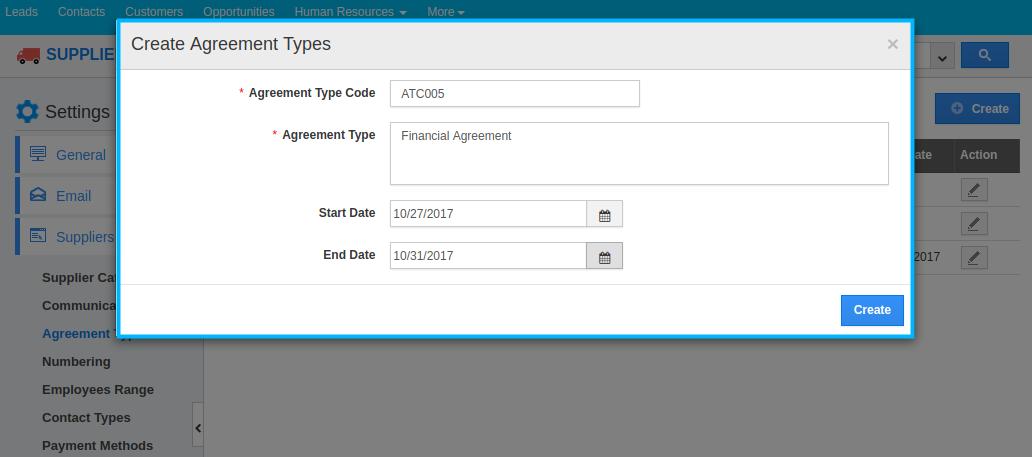 create agreement type