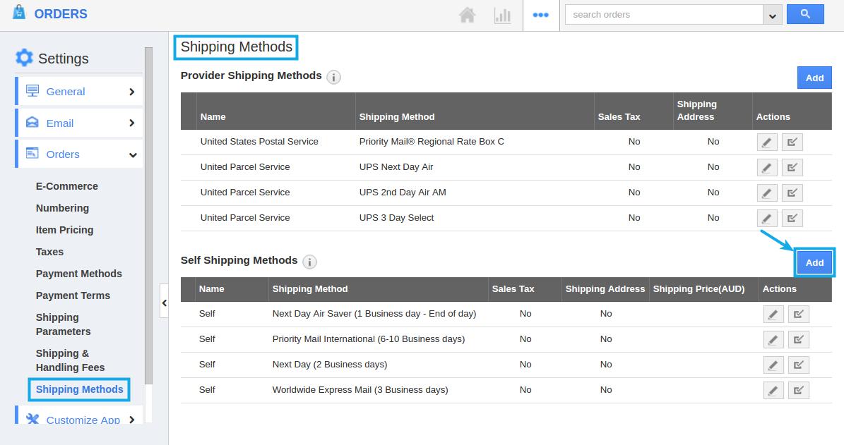 self shipping methods