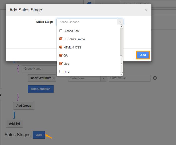 add sales stage