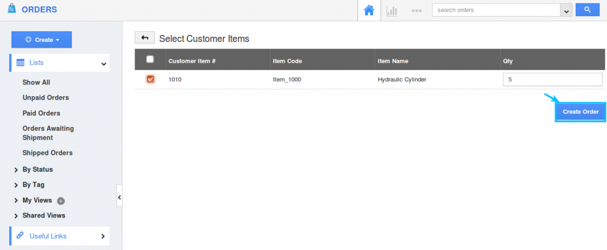 item order